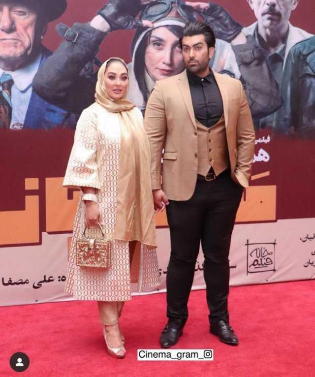 عکس| الهام حمیدی و همسرش در اکران خصوصی فیلم مسخرهباز