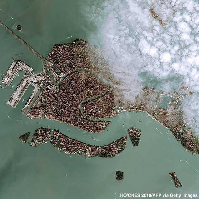 تصویر ماهوارهای از بلایی که سیل بر سر ونیز آورد +عکس