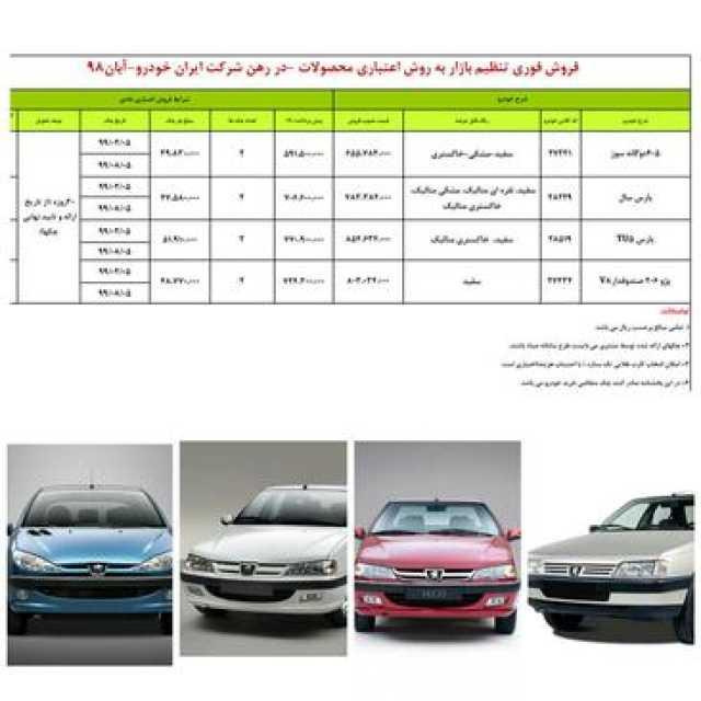 طرح جدید فروش اقساطی 4 محصول ایران خودرو ویژه اول آبان 98