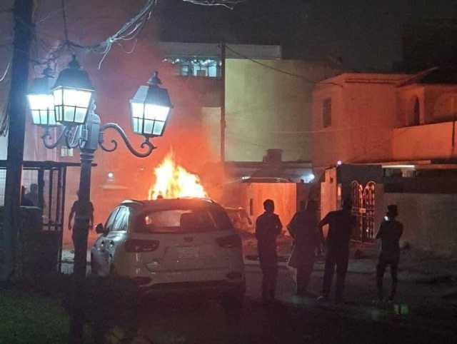 خودروی ائتلاف آمریکایی در بغداد با بمب منفجر شد
