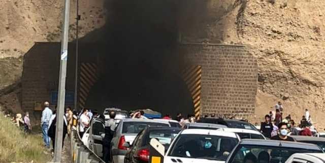 حریق در تونل آزادراه تهران پردیس/ پژو ۲۰۷ در آتش سوخت