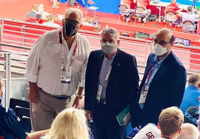 المپیک ۲۰۲۰ توکیو| دیدار صالحیامیری و لالوویچ در حاشیه مسابقات کشتی