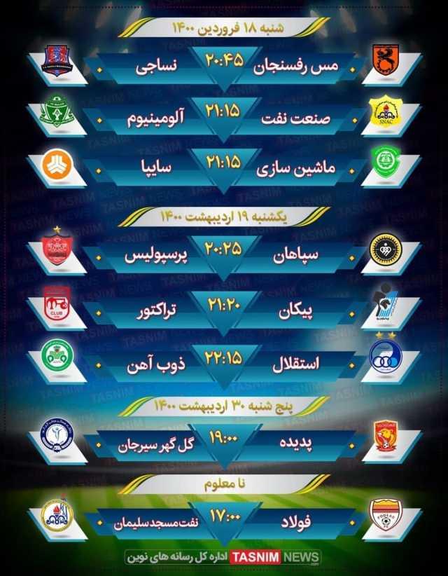 برنامه بازیهای هفته ۲۲ لیگ برتر فوتبال