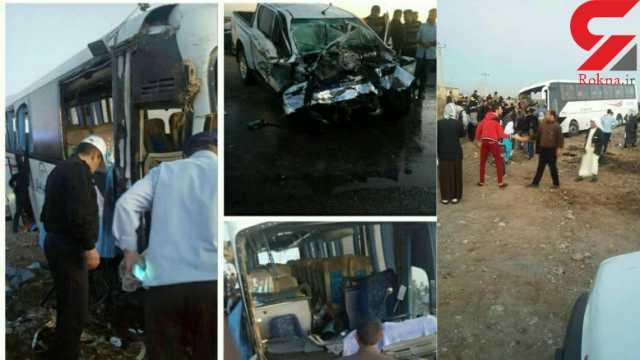 فیلم حادثه تصادف اتوبوس دانش آموزان دختر در سوسنگرد / 8 کشته و 40 مصدوم تاکنون + تصاویر